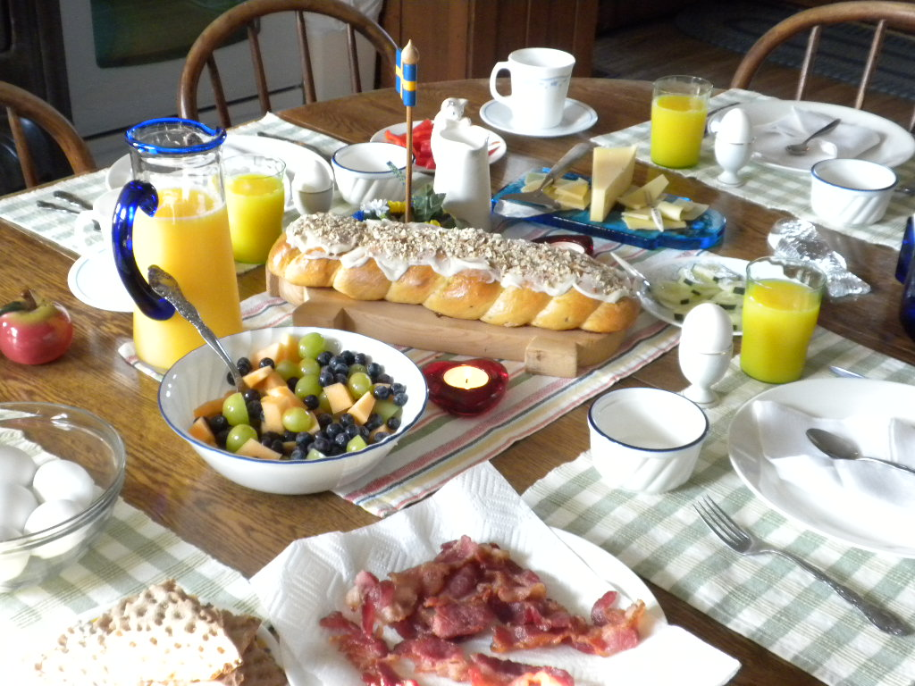 Country Bed and Breakfast Swedish Breaskfast Menu.